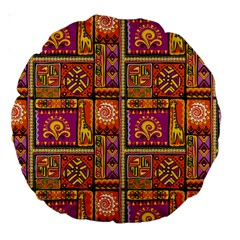 Traditional Africa Border Wallpaper Pattern Colored 3 Large 18  Premium Round Cushions by EDDArt
