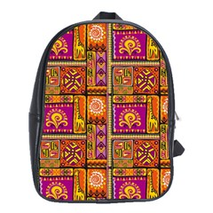Traditional Africa Border Wallpaper Pattern Colored 3 School Bag (xl) by EDDArt