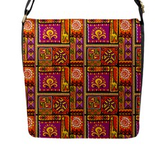 Traditional Africa Border Wallpaper Pattern Colored 3 Flap Messenger Bag (l)  by EDDArt