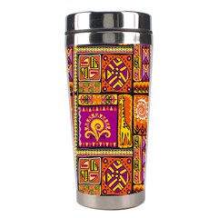 Traditional Africa Border Wallpaper Pattern Colored 3 Stainless Steel Travel Tumblers by EDDArt