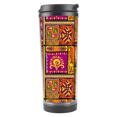 Traditional Africa Border Wallpaper Pattern Colored 3 Travel Tumbler by EDDArt