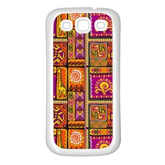 Traditional Africa Border Wallpaper Pattern Colored 3 Samsung Galaxy S3 Back Case (white) by EDDArt