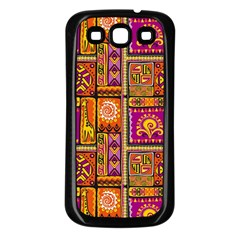 Traditional Africa Border Wallpaper Pattern Colored 3 Samsung Galaxy S3 Back Case (black) by EDDArt
