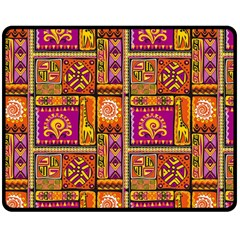 Traditional Africa Border Wallpaper Pattern Colored 3 Double Sided Fleece Blanket (medium)  by EDDArt