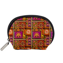 Traditional Africa Border Wallpaper Pattern Colored 3 Accessory Pouches (small)  by EDDArt