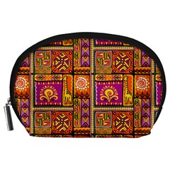 Traditional Africa Border Wallpaper Pattern Colored 3 Accessory Pouches (large)  by EDDArt