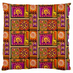 Traditional Africa Border Wallpaper Pattern Colored 3 Large Flano Cushion Case (one Side)