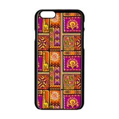 Traditional Africa Border Wallpaper Pattern Colored 3 Apple Iphone 6/6s Black Enamel Case by EDDArt