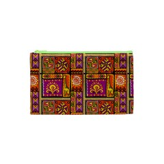 Traditional Africa Border Wallpaper Pattern Colored 3 Cosmetic Bag (xs) by EDDArt
