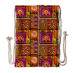 Traditional Africa Border Wallpaper Pattern Colored 3 Drawstring Bag (large) by EDDArt