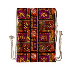 Traditional Africa Border Wallpaper Pattern Colored 3 Drawstring Bag (small) by EDDArt