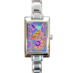 Pop Art Paisley Flowers Ornaments Multicolored 3 Rectangle Italian Charm Watch by EDDArt