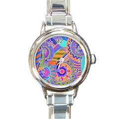 Pop Art Paisley Flowers Ornaments Multicolored 3 Round Italian Charm Watch by EDDArt