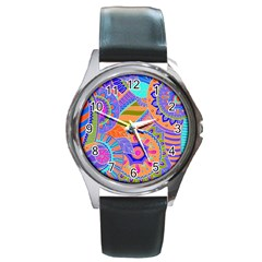 Pop Art Paisley Flowers Ornaments Multicolored 3 Round Metal Watch by EDDArt
