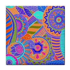 Pop Art Paisley Flowers Ornaments Multicolored 3 Tile Coasters by EDDArt