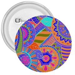 Pop Art Paisley Flowers Ornaments Multicolored 3 3  Buttons by EDDArt