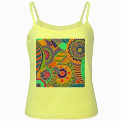 Pop Art Paisley Flowers Ornaments Multicolored 3 Yellow Spaghetti Tank