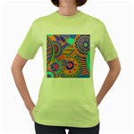 Pop Art Paisley Flowers Ornaments Multicolored 3 Women s Green T-Shirt Front