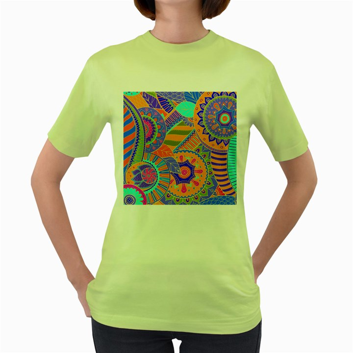 Pop Art Paisley Flowers Ornaments Multicolored 3 Women s Green T-Shirt
