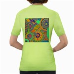 Pop Art Paisley Flowers Ornaments Multicolored 3 Women s Green T-Shirt Back