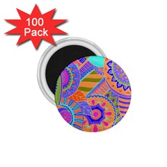 Pop Art Paisley Flowers Ornaments Multicolored 3 1 75  Magnets (100 Pack)  by EDDArt