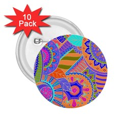 Pop Art Paisley Flowers Ornaments Multicolored 3 2 25  Buttons (10 Pack)  by EDDArt