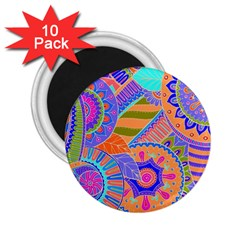 Pop Art Paisley Flowers Ornaments Multicolored 3 2 25  Magnets (10 Pack)  by EDDArt