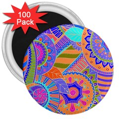 Pop Art Paisley Flowers Ornaments Multicolored 3 3  Magnets (100 Pack) by EDDArt