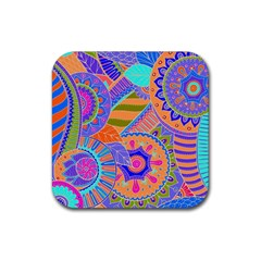 Pop Art Paisley Flowers Ornaments Multicolored 3 Rubber Square Coaster (4 Pack)  by EDDArt