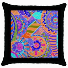 Pop Art Paisley Flowers Ornaments Multicolored 3 Throw Pillow Case (black) by EDDArt
