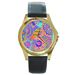 Pop Art Paisley Flowers Ornaments Multicolored 3 Round Gold Metal Watch by EDDArt