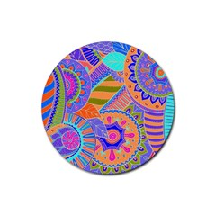 Pop Art Paisley Flowers Ornaments Multicolored 3 Rubber Round Coaster (4 Pack)  by EDDArt