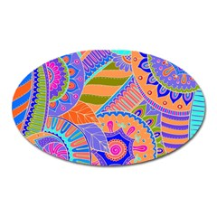 Pop Art Paisley Flowers Ornaments Multicolored 3 Oval Magnet