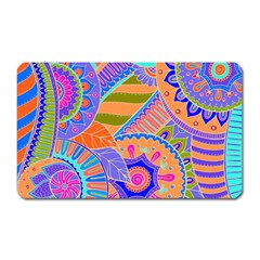 Pop Art Paisley Flowers Ornaments Multicolored 3 Magnet (rectangular) by EDDArt