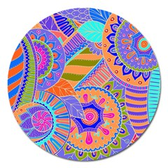 Pop Art Paisley Flowers Ornaments Multicolored 3 Magnet 5  (round)
