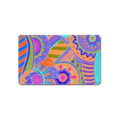 Pop Art Paisley Flowers Ornaments Multicolored 3 Magnet (name Card) by EDDArt