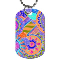Pop Art Paisley Flowers Ornaments Multicolored 3 Dog Tag (one Side) by EDDArt