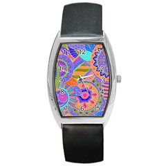 Pop Art Paisley Flowers Ornaments Multicolored 3 Barrel Style Metal Watch