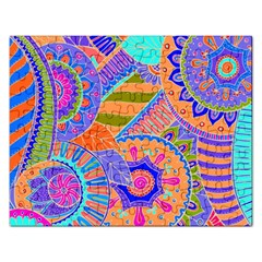 Pop Art Paisley Flowers Ornaments Multicolored 3 Rectangular Jigsaw Puzzl by EDDArt