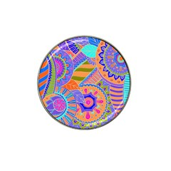 Pop Art Paisley Flowers Ornaments Multicolored 3 Hat Clip Ball Marker (4 Pack) by EDDArt