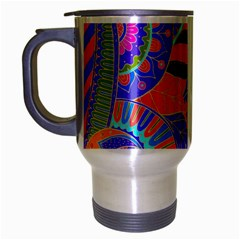 Pop Art Paisley Flowers Ornaments Multicolored 3 Travel Mug (silver Gray)