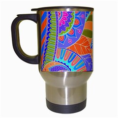 Pop Art Paisley Flowers Ornaments Multicolored 3 Travel Mugs (white) by EDDArt