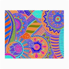 Pop Art Paisley Flowers Ornaments Multicolored 3 Small Glasses Cloth by EDDArt