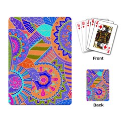 Pop Art Paisley Flowers Ornaments Multicolored 3 Playing Card by EDDArt