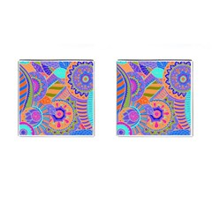 Pop Art Paisley Flowers Ornaments Multicolored 3 Cufflinks (square) by EDDArt