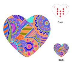 Pop Art Paisley Flowers Ornaments Multicolored 3 Playing Cards (heart)  by EDDArt