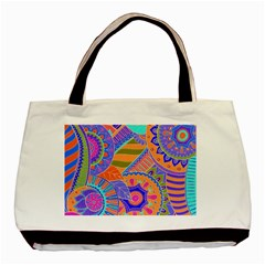 Pop Art Paisley Flowers Ornaments Multicolored 3 Basic Tote Bag by EDDArt