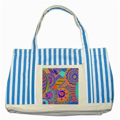 Pop Art Paisley Flowers Ornaments Multicolored 3 Striped Blue Tote Bag by EDDArt