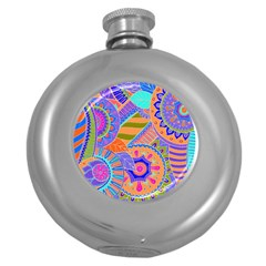 Pop Art Paisley Flowers Ornaments Multicolored 3 Round Hip Flask (5 Oz) by EDDArt