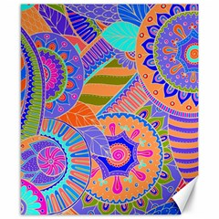 Pop Art Paisley Flowers Ornaments Multicolored 3 Canvas 8  X 10  by EDDArt